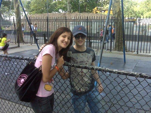 Dan posing with a fan in NYC