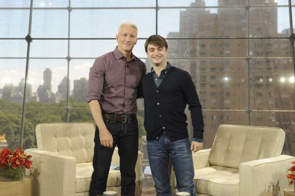Dan and Anderson Cooper on the set of his new show