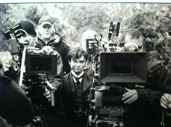 Dan makes a face on the Woman in Black set