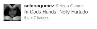 "TwitterTeenStas-OnlineTeenStars-OnlinTeenStars-OnlineTeenStars-OnlineTeenStars-Online13/11/2010 TeenStars-Online TeenStars-Online Selena a mis sur son twitter  "" In Gods Hands- Nelly Futardo ""  A croire qu'elle aime bien cette chanson  ;)     TeenStars-Online TeenStars-Online"