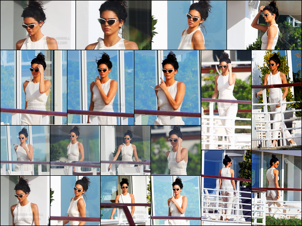 12.05.2016 ─ Kendall Jenner a été photographiée, alors, qu'elle était à son hôtel « Cap-Eden-Roc » dans Antibes.Kendall est présente au festival de Cannes puisqu'elle a été nommée ambassadrice du lancement de Magnum Double cette année. - Un très joli top.