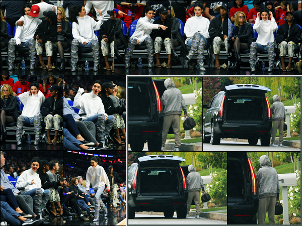 04.11.2017 ─ Kendall Jenner a été photographiée au match « L.A Clippers Vs. Memphis Grizzlies » à Los Angeles.Le lendemain, la belle a été photographiée, alors, qu'elle quittait le domicile de Blake Griffin à Los Angeles. Concernant ses deux tenues, un top et un bof.