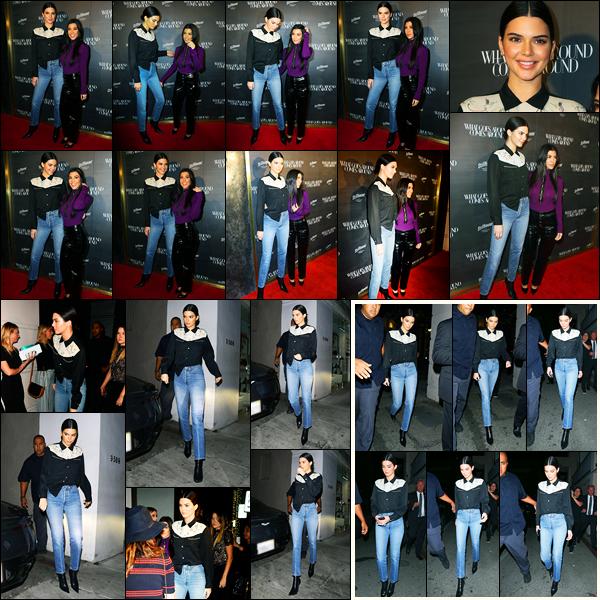 11.10.2017 ─ Kendall Jenner était présente au « What Goes Around Comes Around », se déroulant, à Los Angeles.La belle était en compagnie de sa soeur, Kourtney Kardashian. Elle a été vue arrivant et quittant la soirée. Concernant sa tenue, elle est simple mais top !