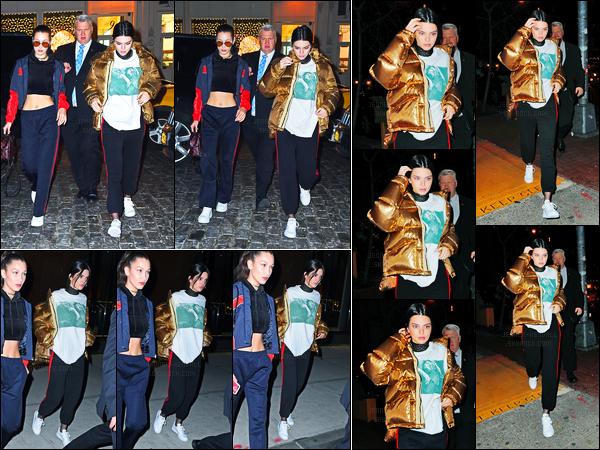 18.01.2017 ─ Kendall Jenner a été aperçue arrivant puis quittant l'appartement, de Gigi Hadid, à New-York City.Un peu plus tôt dans la soirée, Kendall a été photographiée arrivant à l'appartement de Bella Hadid. Concernant sa tenue, je n'en suis pas très fan.