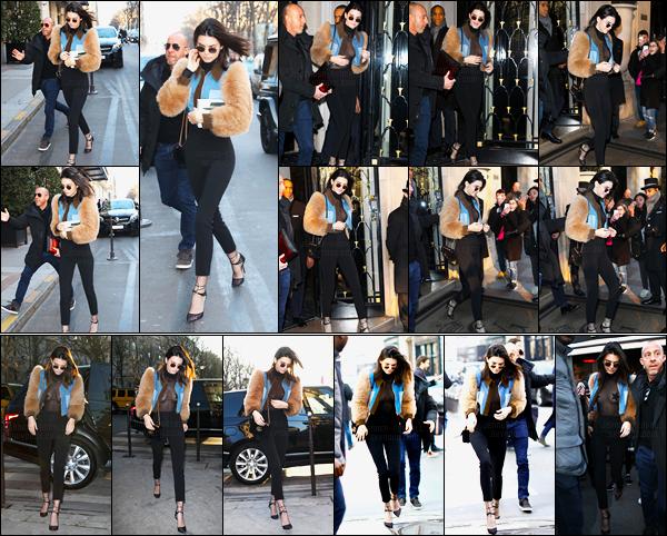21.01.2017 ─ Kendall Jenner a été photographiée arrivant puis quittant son hôtel George V qui est dans Paris, FR.Journée chargée pour Kendall J. a ensuite été vue arrivant et quittant le restaurant l'avenue, puis dans un magasin. Concernant sa tenue c'est un top !