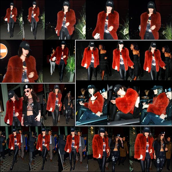 19.02.2017 ─ Kendall Jenner a été photographiée arrivant, puis, quittant le Sexy Fish, étant dans Londres, en UK.La belle brunette été en compagnie de son amie, Bella Hadid.. Concernant sa tenue, c'est un très jolie top de ma part, j'adore sa veste, et vos avis ?