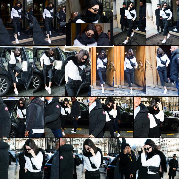 28.02.2017 ─ Kendall Jenner a été photographiée arrivant, puis, quittant l'hôtel Four Seasons, étant, dans Paris.Entre deux, Kendall a été vue arrivant puis quittant fitting toujours à Paris. Elle participera donc à la fashion week. Sa tenue c'est un top de ma part.