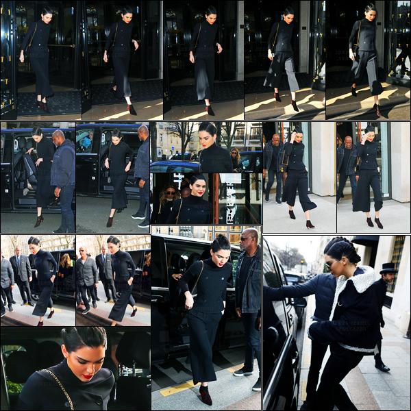 02.03.2017 ─ Kendall Jenner a été photographiée arrivant, puis, quittant l'hôtel «George V» se situant, dans Paris.Entre deux, Kendall J. a été photographiée arrivant puis quittant au Louis Vuitton Paris Motaigne, requittant son hôtel quelques heures plus tard.. Top !