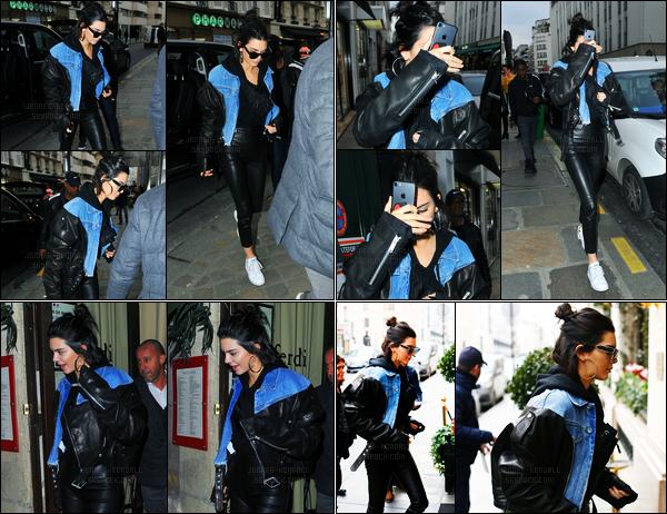 03.03.2017 ─ Kendall Jenner a été photographiée arrivant puis quittant un studio, qui se situe dans Paris, France.La belle a également été photographiée alors qu'elle quittait le restaurant Ferdi puis dans Paris. Concernant sa tenue, c'est un beau top de ma part !