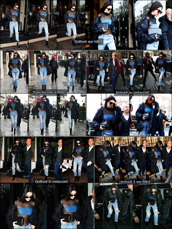 06.03.2017 ─ Kendall Jenner a été photographiée arrivant puis quittant son hôtel, qui se situe dans Paris, France.Kendall J. a ensuite été photographiée dans les rues de Paris puis arrivant et quittant le restaurant L'avenue... Concernant sa tenue, j'aime beaucoup !