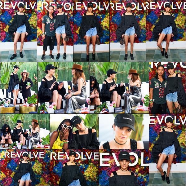 16.04.2017 ─ Kendall Jenner était présente lors du festival «Coachella» au Revolve festival, étant dans l'Indio, CA.Comme chaque année elle participe chaque jour au festival célèbre. Concernant sa tenue, je l'aime moins que celle de la veille mais top quand même.