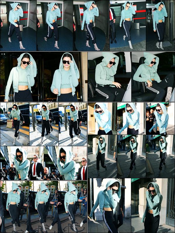 01.07.2017 ─ Kendall Jenner a été photographiée, alors, qu'elle quittait l'aéroport Charles De Gaulles, dans Paris.Un peu plus tard, elle a été photographiée arrivant à son hôtel puis arrivant et quittant le showroom Miu Miu et revenant à son hôtel... Sa tenue est top !