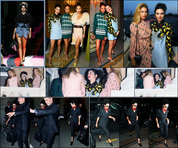 02.07.2017 ─ Kendall Jenner a défilée pour la marque de couture « Miu Miu », pour la fashion week, étant à Paris.La belle a ensuite était présente à l'after party de Miu Miu, et elle a été photographiée quittant le défilé et arrivant à son hôtel. Sa tenue est toujours  top !