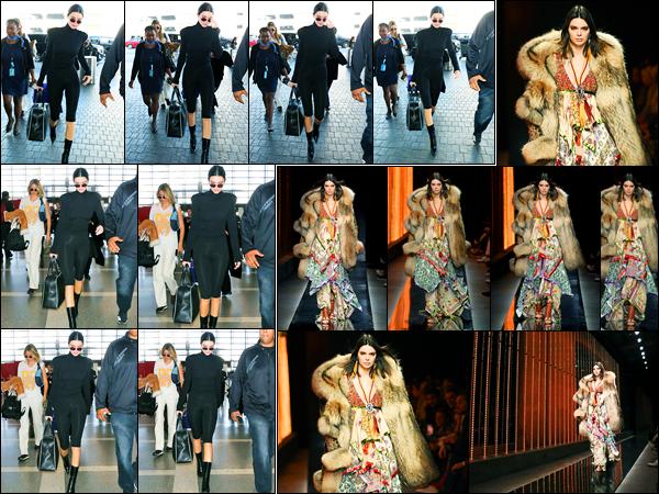 12.01.2018 ─ Kendall Jenner a été photographiée, alors, qu'elle arrivait à l'aéroport de LAX, étant, à Los Angeles.Deux jours après, c'est à Milan que nous retrouvons notre belle mannequin défilant pour pour la marque « DSQuared ». Concernant ses tenues, c'est top