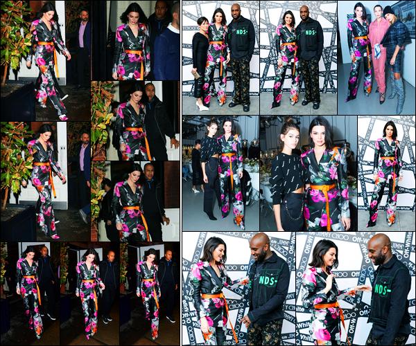 -11/02/2018- ─ Kendall Jenner a été photographiée arrivant au dîner de « Off White x Jimmy Choo » dans New-York City !La belle mannequin Kendall Jenner a posée avec ses amies comme Bella Hadid, ou encore Hailey Baldwin. Concernant sa tenue, c'est un top de ma part !
