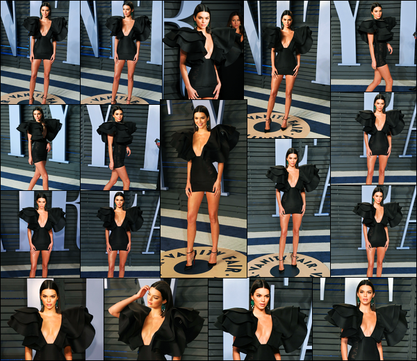 -04/03/2018- ─ Kendall Jenner était présente lors de la cérémonie de « Vanity Fair Oscar Party » étant dans Beverly Hills.Enfin des news de la sublime Kendall J. qui n'a malheureusement pas participer à la fashion week. Concernant sa tenue, je lui donne pour ma part un bof