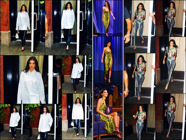 -05/09/2019- ─ Kendall Jenner a été photographiée, alors, qu'elle quittait un immeuble se situant, dans - New-York City !La belle mannequin Kendall a ensuite été vue arrivant aux studio de Jimmy Fallon puis se rendant au défilé de Renell Medrano. Ses tenues sont des tops.