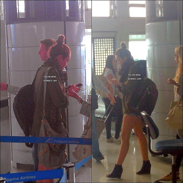 . 18.06.11 - Miley , à l'aéroport de Manille, puis Miley arrivant à l'aéroport d'Australie. .