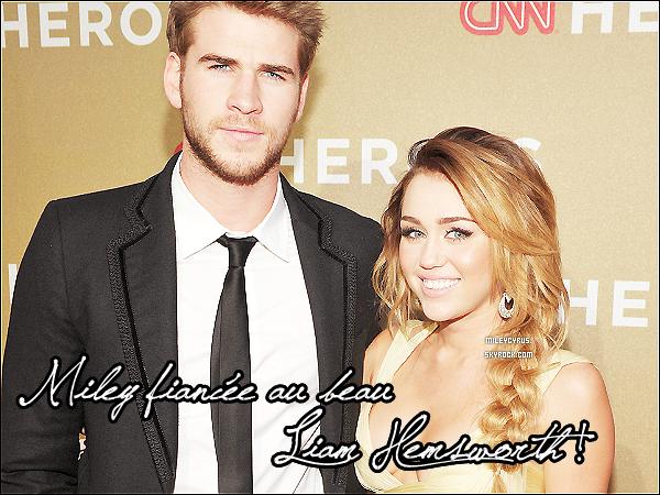 """. Miley s'est fiancée à Liam Hemsworth !    Le couple s'était rencontré pendant l'été 2009, sur le tournage du film « The Last Song » et s'était séparé en août 2010 avant de remettre le couvert quelques mois plus tard. Aujourd'hui, le couple a fin du chemin dans leurs carrières respectives: Miley, 19 ans, a tourné dans « LOL » et « So Undercover » et travaille actuellement sur son quatrième album; Liam, 22 ans, a tourné dans « Hunger Games » et tourne actuellement « Empire State » à la Nouvelle-Orléans.  Miley a tweeté quelques messages  qui nous permettent de voir combien elle est heureuse : « Merci pour tout votre amour ajourd'hui :) Je suis heureuse de partager cette nouvelle avec vous tous. J'ail l'impression que tous mes rêves se réalisent. ❤ passez une bonne journée. » Liam a fait sa demande le 31 mai avec une bague en or 18 carats avec des motifs floraux tachetés de petits diamants complexes. La pierre centrale, un diamant de 3,5 carats, a été taillée à la main « vers 1880 ou 1890″, comme l'a confié Neil Lane à People.com. Le joaillier a également expliqué que Liam Hemsworth avait été heureux du résultat final, révélant aussi que le fameux bijou ne fut achevé que la semaine dernière. Liam l'a dessiné lui-même ! Même le père de la belle, à posté un message sur Twitter : """"Tout ce que j'espérais en tant que père, c'était de voir mes enfants accomplir leurs rêves. Trouver le bonheur... la tranquillité d'esprit... et un jour...le véritable amour"""". Je leur souhaite le meilleur, pour eux. Tellement heureuse pour Miley et Liam ! (l)    Alors heureux pour Mil' & Liam ?           ."""