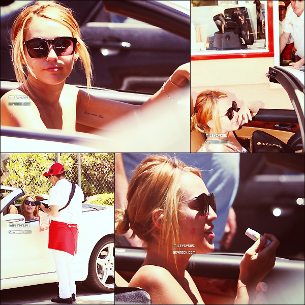 .   28/06/2012 - Miley, allant commander un burger à In & Out Burger à Toluca Lake.   .