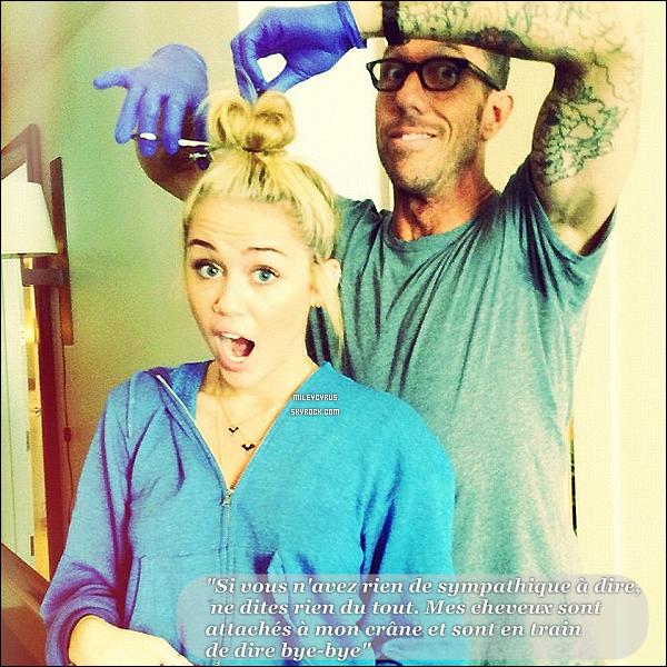 . Miley à décidé de dire byebye à son chignon qu'elle faisait à chacune de ses sorties.. Miley à donc maintenant les cheveux courts, très courts.. que pensez-vous de ce changement ? .