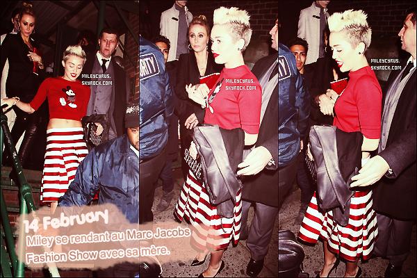 14/02/2013 : Alors qu'il y'avait des couples qui fêtaient la saint-valentin ensemble, Miley, elle, fessait les aller-retour dans les rues de New York ! Beaucoup de tenues ! Laquelle est votre préférée ?