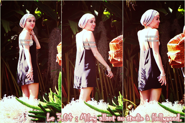 . 30/03/2013 : Miley arrivant au studio d'enregistrement à Hollywood. .
