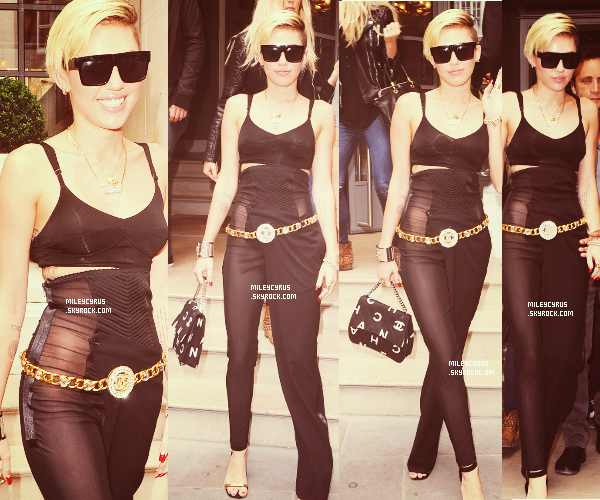 . | 10/09/2013 | Candids |   Miley arrivant à son hôtel à Londres. Tenue : simple.  .