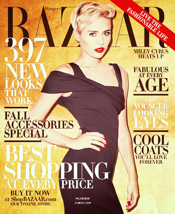 . | Photoshoot | Miley (fraîchement célibataire) en couverture du magazine Harper's Bazaar .