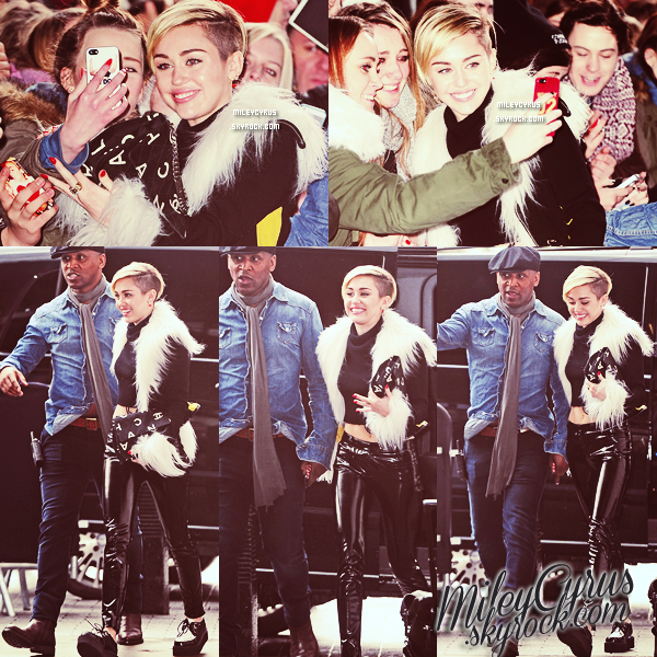 . |12 Novembre 2013 | Candids | Miley, toute souriante,  arrivant au BBC Radio 1 Studios à Londres. Elle a chanté une chanson de Lana Del Rey (que j'adore)  : Summertime Sadness ! Que pensez-vous de cette reprise? .