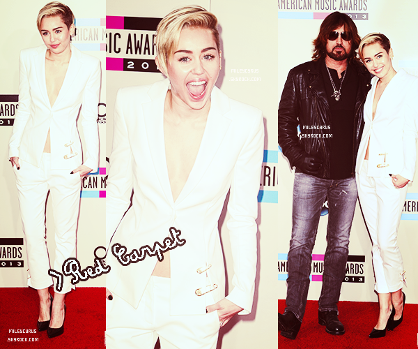 ". |24 Novembre 2013 | Apparences| Miley aux American Music Awards Miley a performé ""Wrecking ball""!   ."