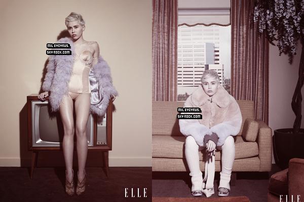 .  10/04/2014   Magazine   Miley faisant la couverture du magazine ELLE pour le mois de mai. Vos avis? :) .