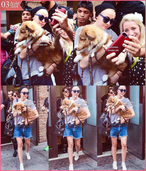 . |03/08/2014 | Candids | Miley sortant de son hôtel à New-York, toujours. .