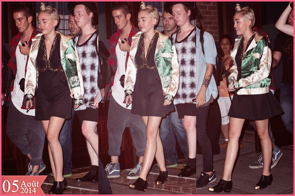 . |05/08/2014 | Candids | Miley sortant de son hôtel à New-York, encore. .