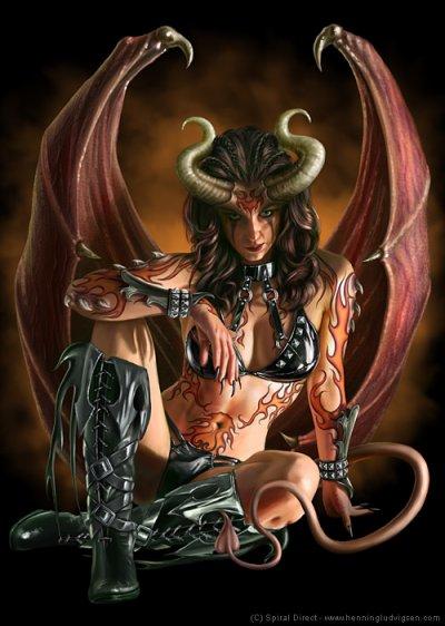 naked angel and demon girl