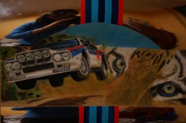 2me dessin pour Avignon motor show : lancia et tigre..............plaque rétro!! stand museo vivo provence