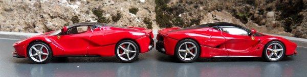 Ferrari LaFerrari comparaison Bburago et Hotwheels