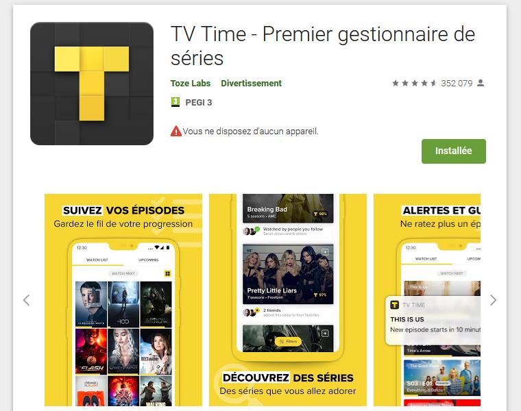 Application et Logiciel : TV Time et Séries TV (article mise à jour)