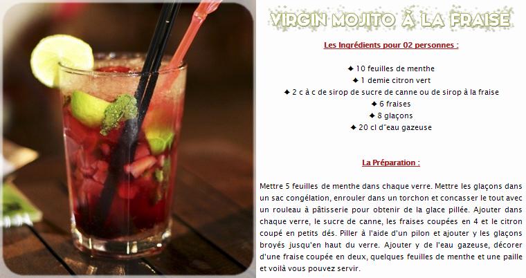 Virgin Mojito à la fraise (sans alcool)