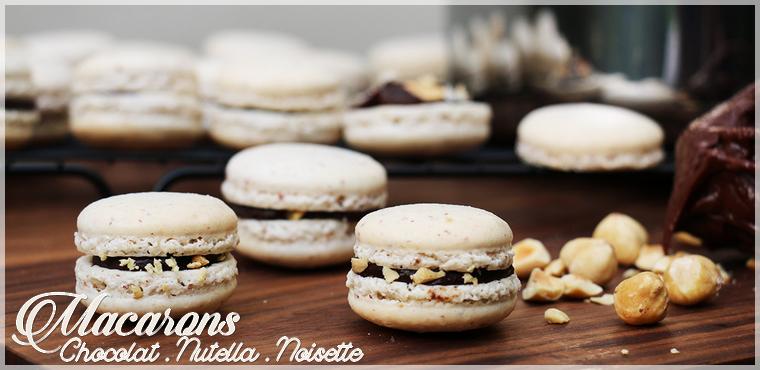 Recette : Macarons chocolat, nutella et noisette