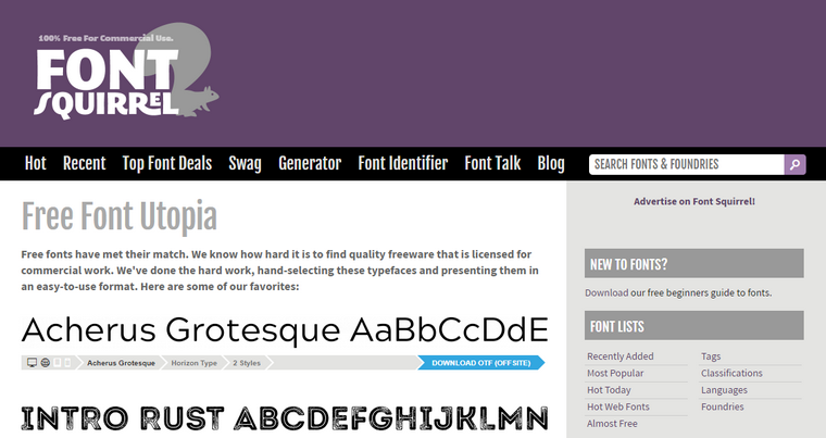 Site et Blog : Font Squirrel