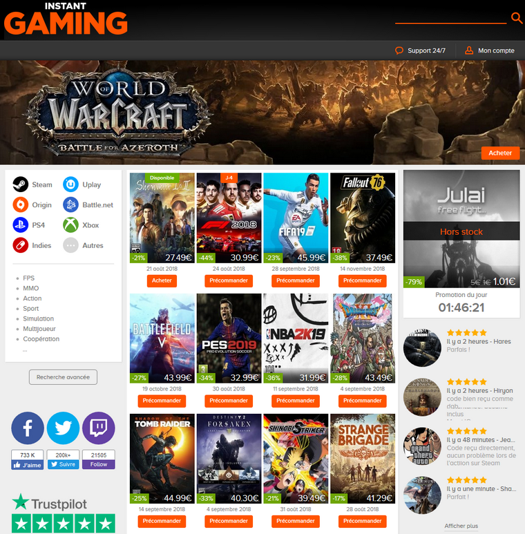 Site et Blog : Instant Gaming