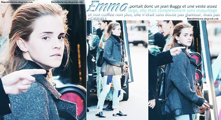 Le 31 Octobre 2015: voici le dernier candid d'Emma, je sais déjà ce que vous allez dire, oui, oui elle n'est pas aussi glamour que tous les jours