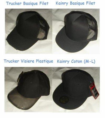 Les casquettes disponibles.