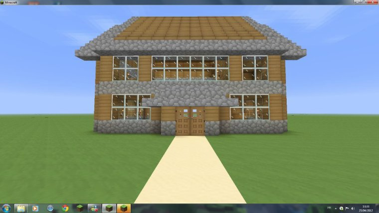 Maison en bois et en pierre architecture minecraft - Construction minecraft maison ...