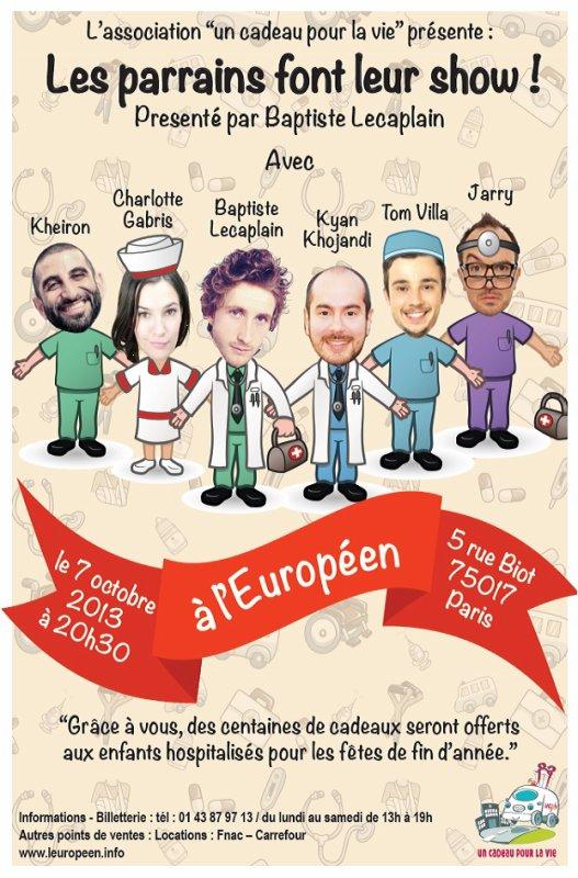 Baptiste Lecaplain présente 'Les parrains font leur show', le 7 octobre à l'Européen au profit de l'association 'Un cadeau pour la Vie'