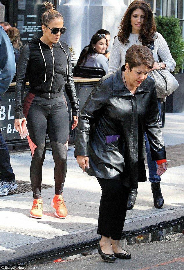 Jennifer avec sa famille à New York le 15.10.2016