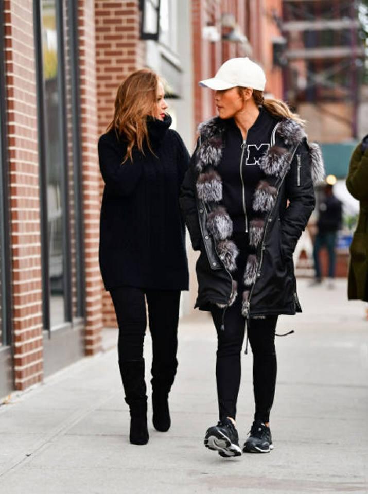 """Jennifer et Leah Remini sur le set de """"Second Act"""" le 26.10.2017 à Brooklyn"""