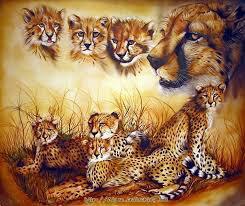 La famille guépard aux complet
