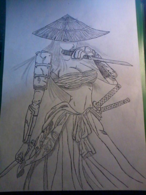 """dessin (sans decor ariere) pour le tournoi sur le theme """"samurai"""""""